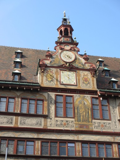 Rathaus clocktower and frescos