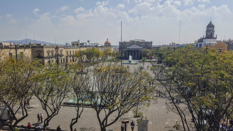 View of Liberation Plaza facing Degollado Theater
