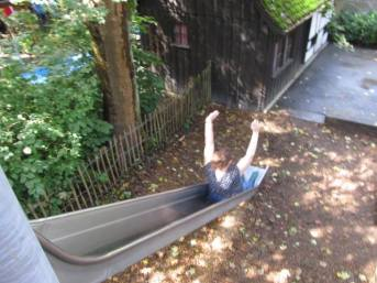 A slide at the house of the witch from Hansel and Gretel