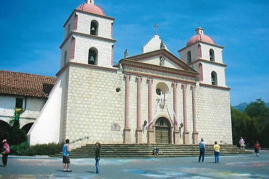 The front of Santa Barbara mission